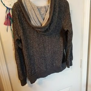 2 for $5//Grey and Black Lace Lightweight Zip Up